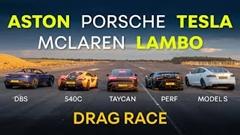 モデルS vs タイカン 4S vs ウラカン ペルフォルマンテ vs DBS vs 540C ドラッグレース動画