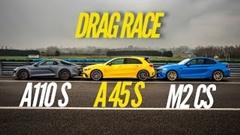 アルピーヌ A110S vs AMG A45 S vs BMW M2 CS ドラッグレース動画
