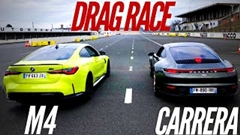 新型BMW M4 Competition vs  ポルシェ 992 カレラ ドラッグレース動画