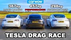 テスラ モデル3 パフォーマンス vs ロングレンジ vs スタンダード ドラッグレース動画