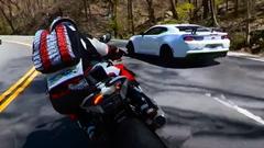シボレー カマロ ZL1 1LE vs BMW S1000RR 峠バトル動画