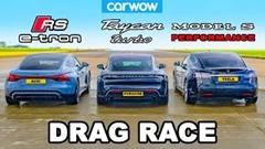 アウディ RS e-tron GT vs ポルシェ タイカン ターボ vs テスラ モデルS ドラッグレース動画