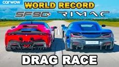 リマック ネヴェーラ vs フェラーリ SF90 ドラッグレース動画