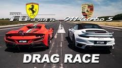 ポルシェ 992 ターボS カブリオレ vs フェラーリ F8 スパイダー ドラッグレース動画