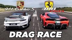 ポルシェ 992 ターボS カブリオレ vs フェラーリ 488 ピスタ ドラッグレース動画