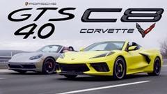 シボレー C8 コルベット コンバーチブル vs ポルシェ 718 ボクスター GTS 4.0 ドラッグレース動画