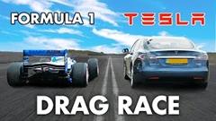 F1 vs テスラ モデルS P100D ドラッグレース動画