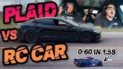 テスラ モデルS プレイド vs RCカー ドラグレース動画
