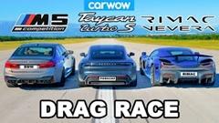 リマック ネヴェーラ vs ポルシェ タイカン vs BMW M5 ドラッグレース動画
