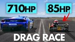 スーパーカート vs フェラーリ 488 ピスタ ドラッグレース動画