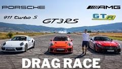 ポルシェ 991 GT3 RS vs 991 ターボS vs メルセデス AMG GT R ドラッグレース動画