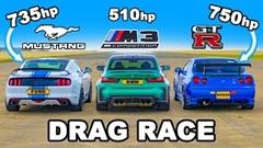日産 R34 GT-R 750馬力 vs フォード マスタング 735馬力 vs BMW M3 G84 ドラッグレース動画