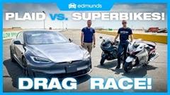 テスラ モデルS プラッド vs スズキ ハヤブサ vs カワサキ ZX-14R ドラッグレース動画
