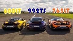 マクラーレン 765LT vs 600LT vs ポルシェ 992 ターボS ドラッグレース動画