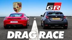 トヨタ GRヤリス vs ポルシェ 718 ケイマン ドラッグレース動画