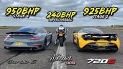 240馬力 カワサキ Ninja H2 vs 925馬力 マクラーレン 720S vs 950馬力 ポルシェ 911 ターボS ドラッグレース動画
